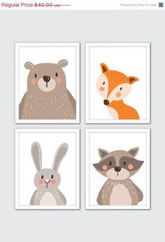 25% OFF SALE Animals Nursery Art, Woodland Animals Nursery Print, Boy Nursery…