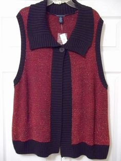 Westbound Woman Sweater COLLARED Vest - BLACK/RED w/GOLD METALLIC SIZE 2X - NWT! #Westbound