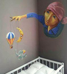 Pastels secs sur mur, inspiré de Rébecca Dautremer.