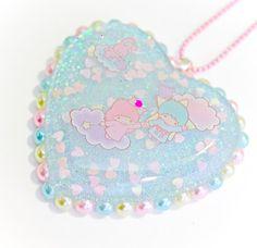 Little Twin Stars Resin Heart Pendant Necklace by Sugar Junkie, $22.00