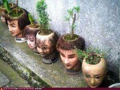 DIY Doll & Mannequin Head flower pots
