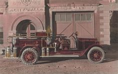 Victor, Colorado City Hall and Fire Station with Fire Truck, hand tinted.