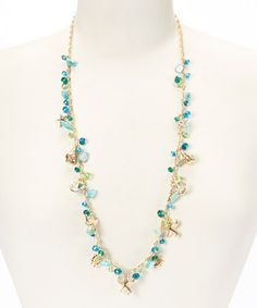 Another great find on #zulily! Turquoise & Gold Sea Life Long Necklace #zulilyfinds