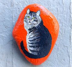 Stripy cat painted rock paperweight