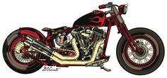 New Motorcycle Illustration Harley Ideas Bobber Motorcycle, Motorcycle Design, New Motorcycles, Vintage Motorcycles, Harley Davidson Kunst, Honda, Futuristic Motorcycle, Triumph, Bike Art