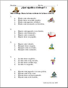 Spanish:  Frases con dibujos #1. - Practice vocabulary and grammar with the help of these colorful picture sentences. Practique el vocabulario y la estructura gramatical con estas frases y dibujos.