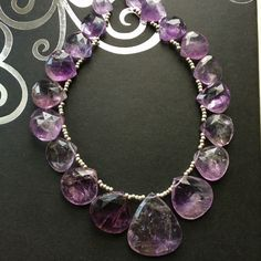 by Theshobs on Etsy Amethyst Gemstone, Necklaces, Bracelets, Charmed, Gemstones, Trending Outfits, Unique Jewelry, Handmade Gifts, Silver