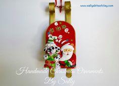 READY TO SHIP Dalmatian with Santa on Sled Dog by sallysbitsofclay