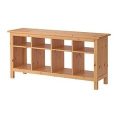 IKEA - HEMNES, Sofa table, light brown, , Solid wood has a natural feel.8 compartments in two different sizes. Convenient storage for books, magazines, accessories, etc.Can be placed behind a sofa, along a wall, or be used as a room divider.