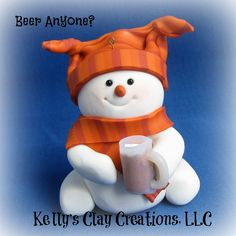 Custom handmade polymer clay snowman ornament for the beer lover in your life.