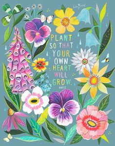 Wildflower Chart on Kraft Katie Daisy Art Floral Painting Flower Power, Daisy Art, Acrylic Artwork, Mothers Day Quotes, Sunday Quotes, Hafiz, Garden Quotes, Garden Sayings, Floral Wall Art