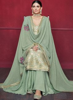 Buy Online Inviting Sea Green Party Wear Sharara Style Suit - Ethnic womens wear sharara style suit at best price Punjabi Suits Party Wear, Party Wear Indian Dresses, Designer Party Wear Dresses, Indian Bridal Outfits, Indian Fashion Dresses, Dress Indian Style, Pakistani Outfits, Bridal Suits Punjabi, Designer Kurtis