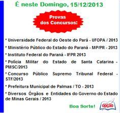 Convocação para Provas do dia 15 /12 / 2013 - parte I