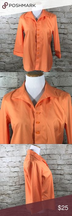 "Chico's Size 1 (8) 3/4 Lng Creamsicle Career Shirt Chico's Size 1 (8) Creamsicle 3/4 Length Sleeve No Iron Button Down Career Shirt This item is gently used with no flaws.  Armpit to Armpit - 19"" Length from back of neck to Bottom - 24"" Sleeve Length - 20"" Made in China Material is 100% Cotton  Inventory - E507 Chico's Tops Button Down Shirts"