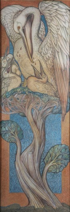 Burne-Jones - Pelican in Her Piety (1880).  Design for a stained-glass window for St Martin's church in Brampton, Cumbria.  In medieval Europe pelicans were thought to care so deeply for their young that they would pierce their own breasts to provide blood to drink if food was scarce. They became familiar in Christian imagery as a metaphor for Christ's love and sacrifice on the cross.