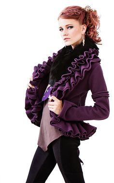 Purple of course!!  super cool jacket for the holidays! HOLIDAY SALE  Ruffle fleece jacket by kayoanimeclothing on Etsy, $130.00