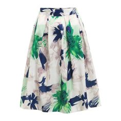Flower Print Pleated Skirt (28 BAM) ❤ liked on Polyvore featuring skirts, floral print skirt, flower print skirt, floral knee length skirt, knee length pleated skirt and floral printed skirt