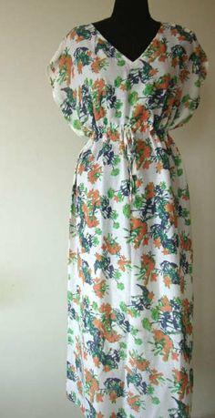 Floral Maxi Dress Long Dress Gown Beachwear Spa by WeddingSong