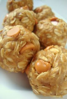 Monkey balls!! Peanut Butter Oatmeal Butterscotch Cookie Dough Balls - Healthy, fun and no-bake snack SUB almond flour