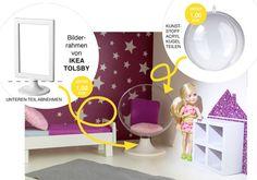 Ein stylischer Sessel für Puppenhaus und Barbie! Mit dem IKEA Bilderrahmen schnell gebastelt. // Easy ikea hack for a doll house with the TOLSBY picture frame. More ideas: www.limmaland.com/blog