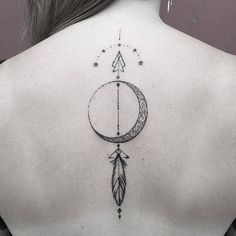Fine-line-moon-arrow-tattoo-on-the-back..jpg (564×564)