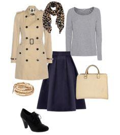 Capsule Closet   Abril 2016   Day 15 (Blue navy midi skirt, black shoes, beige handbag, grey sweater, beige trench-coat)