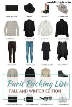 Paris Packing List, What to Wear in Paris in Winter, Shoes to Wear in Paris, Packing for Paris, Paris Travel Essentials parispackinglist parisoutfits parislikealocal paris travelbucketlist 657525614329790149 Paris Packing, Winter Packing, Packing List For Travel, Paris Travel, Packing Tips, Travel Tips, Travel Europe, Packing Shoes, Europe Packing