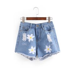 Ripped Flower Print Blue Denim Shorts ($14) ❤ liked on Polyvore featuring shorts, distressed denim shorts, ripped jean shorts, distressed jean shorts, blue floral shorts and destroyed shorts