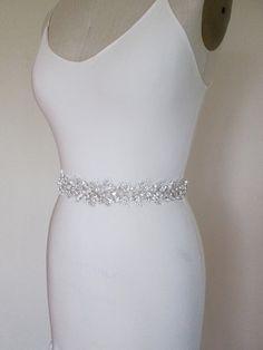 Bridal crystal belt sash Beaded bridal sash by SabinaKWdesign Wedding Dress Types, Wedding Bridesmaid Dresses, Bridal Dresses, Wedding Belts, Wedding Garters, Wedding Signs, Wedding Ideas, Bridal Sash Belt, Bridal Belts