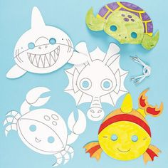 Shop our range of sealife crafts at Baker Ross. Discover Sealife Crafts including decorations, colouring in, stickers and much more. Shark Mask, Fish Mask, Underwater Birthday, Sea Crafts, Animal Masks, Masks Art, Sea Art, Ocean Themes, Craft Activities