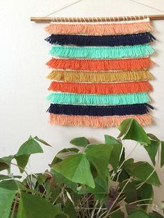 Tissé de la tenture de tissage | Fibre Art | Mur de frange tissage | Tissé de tapisserie | Peach Orange Turquoise Bleu moutarde | Tenture murale fil
