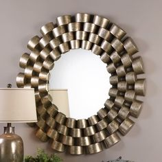 This mirror will be the focal point for any room in your home or office. Made of staggered rows of enclosed tubing with each row graduating in size. The open design has a lightly distressed silver leaf finish with black undertones. Large Round Mirror, Round Wall Mirror, Floor Mirror, Round Mirrors, Mirror Mirror, Mirror Decor Living Room, Wall Decor, Wall Art, Christmas Decor Diy Cheap