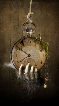 ♂ Dream Imagination Surrealism surreal art Black and white hand hanging clock Paz Inverencial Halloween Rustique, Rustic Halloween, Halloween Prop, Halloween Town, Halloween Ideas, Digital Foto, Arte Obscura, Photoshop, Surreal Art
