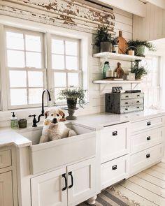 Adorable kitchen design with all white cabinets + farmhouse sink and a cute puppy + shiplap walls + interior design ideas New Kitchen, Kitchen Decor, White Kitchen Sink, Kitchen Rustic, Kitchen Sinks, Sweet Home, Home Living, White Cabinets, White Counters