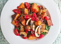 warm sweet potato spinach and mushroom salad: vegan, gluten free, dairy free