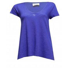 American Vintage Jacksonville V Neck Short Sleeve T-shirt in Indigo Blue