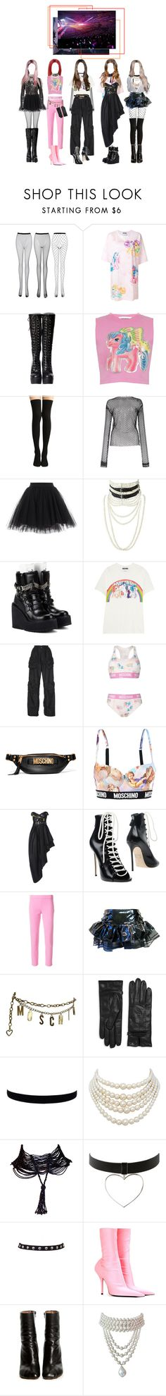 """""""Kpop Girl Group"""" by beyzalwaysperf ❤ liked on Polyvore featuring Moschino, Les Animaux, Christian Dior, Puma, J.W. Anderson, Dsquared2, Hell Bunny, Lamoda, Balenciaga and Vetements"""