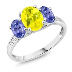 Gem Stone King 10K White Gold Diamond Accent Oval Canary Mystic Topaz Blue Tanzanite 3-Stone Ring 2.20 Ct, Available in size (5,6,7,8,9)