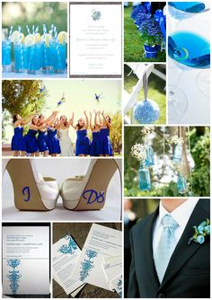 Blue wedding mood board. including wedding invitations, grooms-wear, bridal wear, bridesmaids, flowers, aisle ideas and shoes! From prettyasapicture.ie
