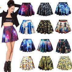 Fashion Women's High Waist Pleated Floral Short Mini Skirt Skater Flared Dress
