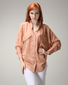 Amy says: This orange is a great color for a shirt. The cut is comfortable and appears as a boyfriend shirt, except with a better fit. Perfect for the ladies. Orange Blouse, Boyfriend Shirt, Amy, Shirts, Color, Tops, Women, Fashion, Moda