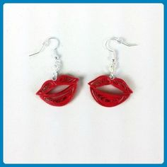 Red Lips Kiss Earrings Handmade Paper Quilling Unique Sexy Jewelry First Anniversary Gift for Her - Bridesmaid gifts (*Amazon Partner-Link)