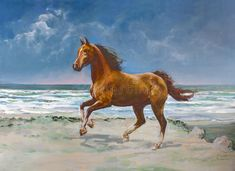 Animal Decor Curtains by Ambesonne, Nature Theme Painting of Chestnut Horse Galloping on Shore Print, Living Room Bedroom Window Drapes 2 Panel Set, X Inches, Slate Blue Light Caramel -- Visit the image link more details. (This is an affiliate link) Painted Horses, Beach Canvas, Canvas Art, Arte Equina, Horse Galloping, Pictures For Sale, La Rive, Chestnut Horse, Lighted Canvas