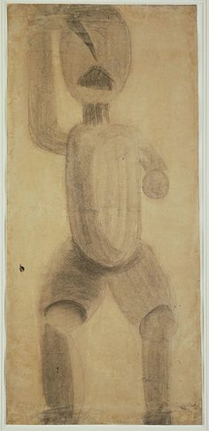 """Constantin Brâncusi (Romanian sculptor) - Study related to """"The First Step"""" - Crayon on paper, Moma, Constantin Brancusi, Henri Rousseau, Amedeo Modigliani, Moving To Paris, Brown Art, Drawing Artist, Modern Sculpture, Pablo Picasso"""
