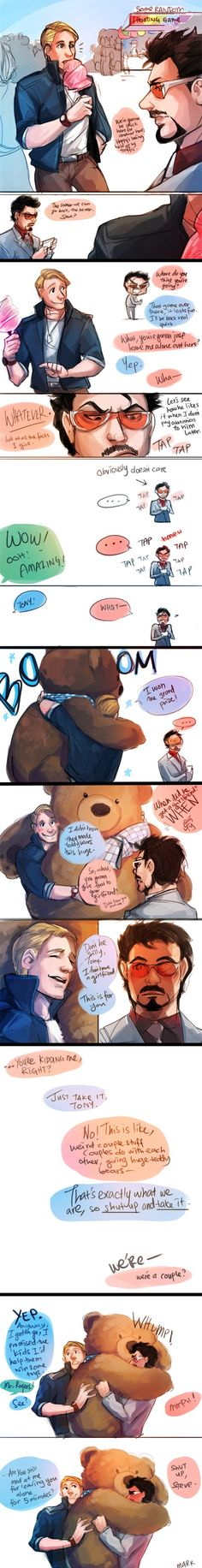 Not that I am a Rogers/Stark shipper..    but that giant teddy bear is cute.