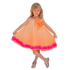 Ombre Chiffon Twirl Dress with Large Bow