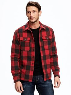 Plaid Micro Fleece Button-Front Jacket for Men | Old Navy
