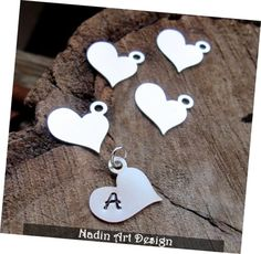 Items similar to Silver / Gold Heart Initial Letter Charm - Fancy Personalized Heart Pendant - Hand Stamped Love Initial Necklace Add On - Silver Heart Charm on Etsy Custom Charms, Personalized Necklace, Initial Letters, Initial Charm, Silver Charms, Silver Earrings, Silver Jewelry, Silver Ring, Silver Engagement Rings