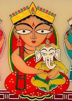 Jamini Roy: Parvati and Ganesha Ganesha Art, Krishna Art, Lord Ganesha, Madhubani Art, Madhubani Painting, Kalamkari Painting, Indian Folk Art, Indian Artist, Hinduism