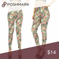 Butter Soft Floral Cotton Blend Leggings These leggings are beautiful in a floral print in grey and red.  They are butter soft, so comfy! Pants Leggings